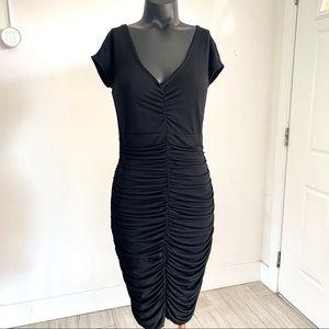 Boston Proper Ruched Black Midi Dress Size 8